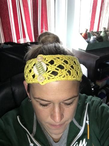 Cotton Crochet Boho Headband with cute button attachments.