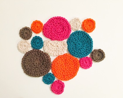 Crochet circles, in bright colors, the start to my Freeform crochet project.
