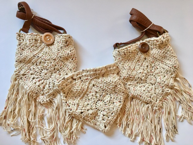Crochet Boho Bag with Fringe and adjustable strap, cotton festival bag, big button closure, purse.